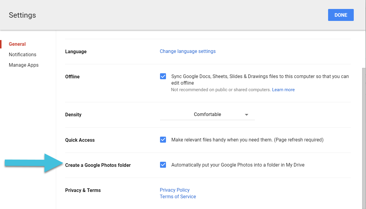 Create a Google Photos folder in Drive