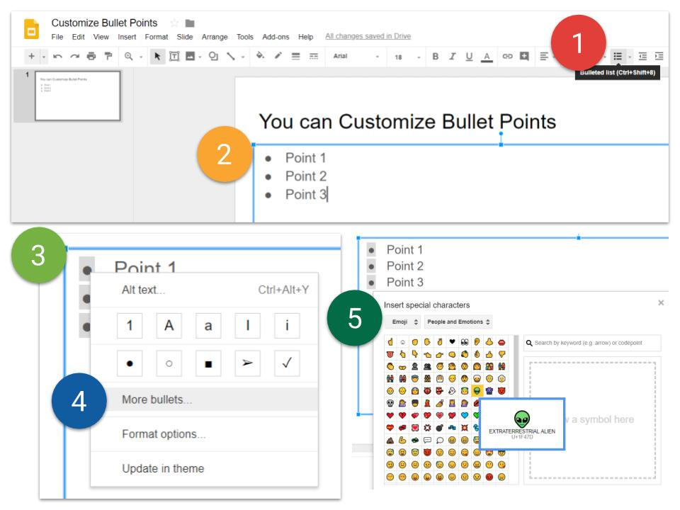 Customize Bullet Points