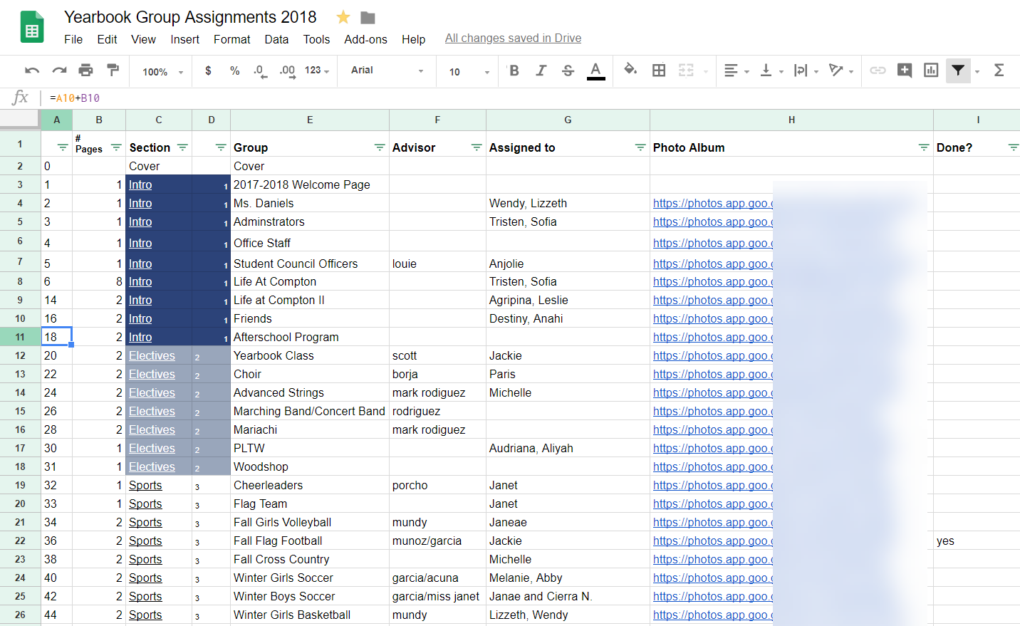 Google Sheets Table of Contents