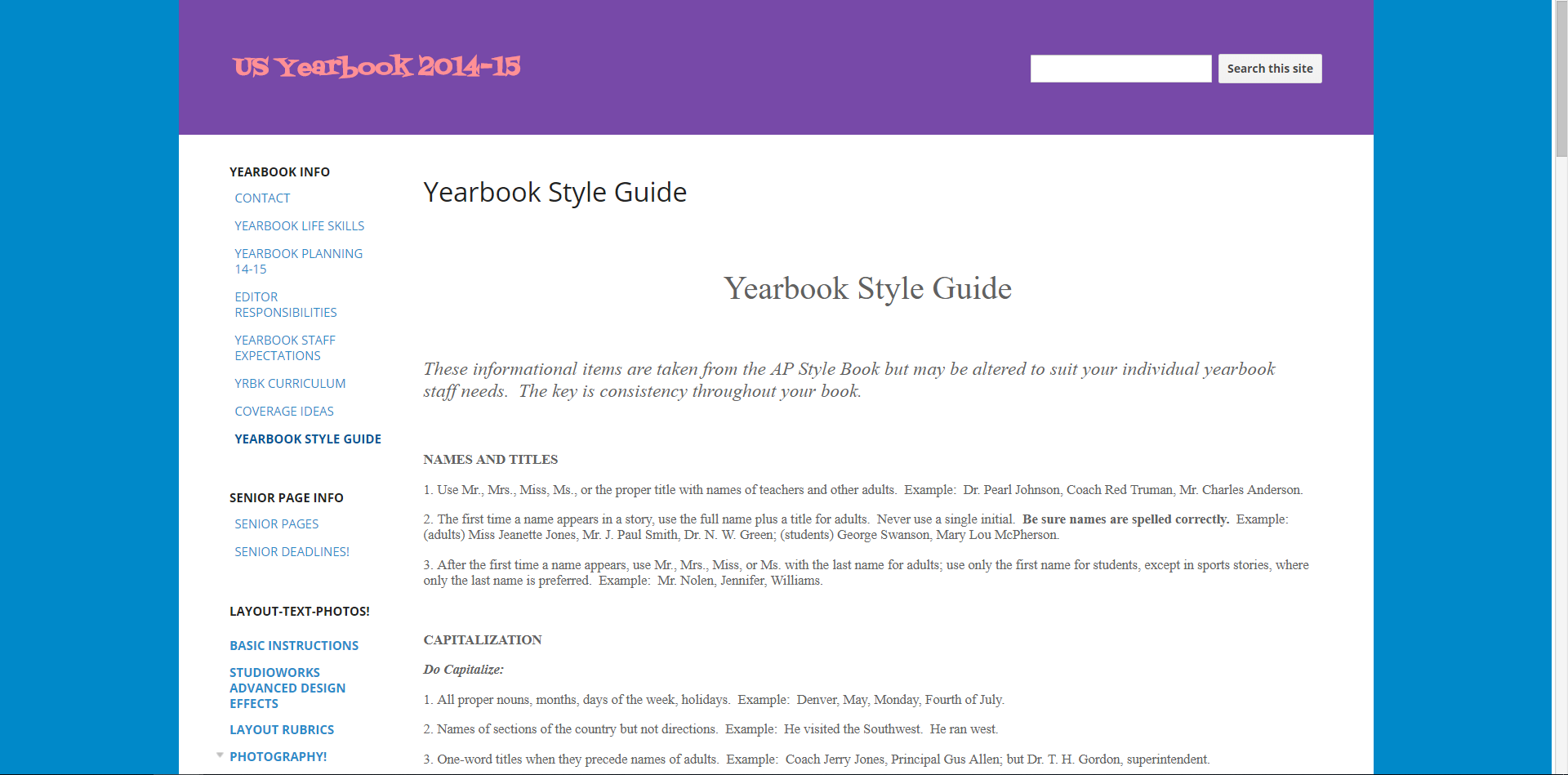 Yearbook Style Guide