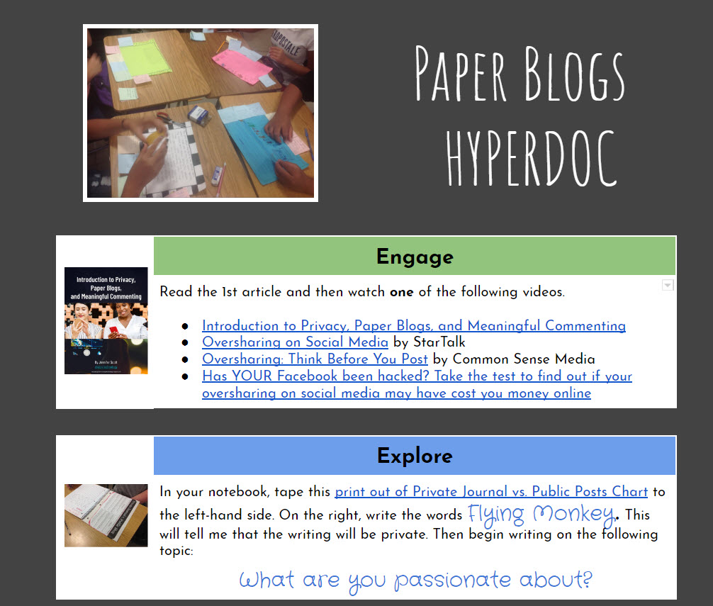 Paper Blogs hyperdoc
