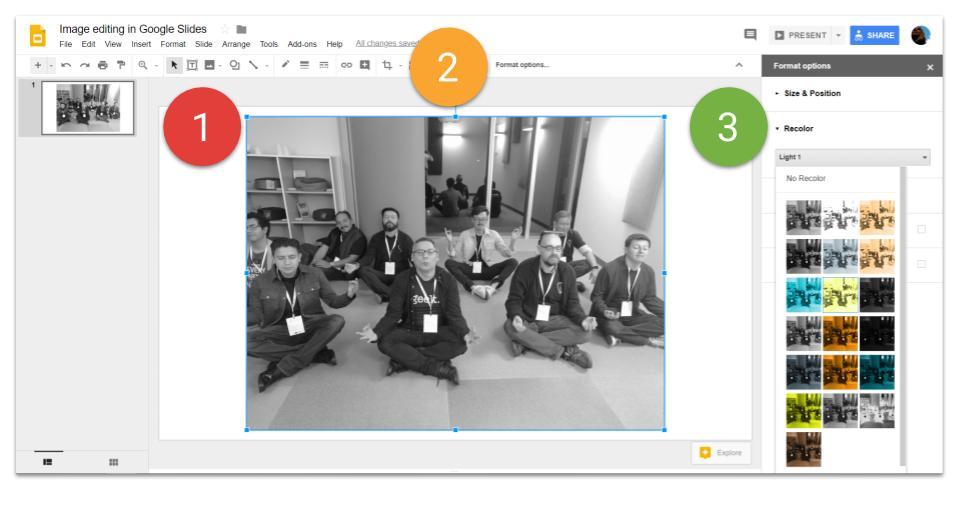 Format options in Google Slides recolor