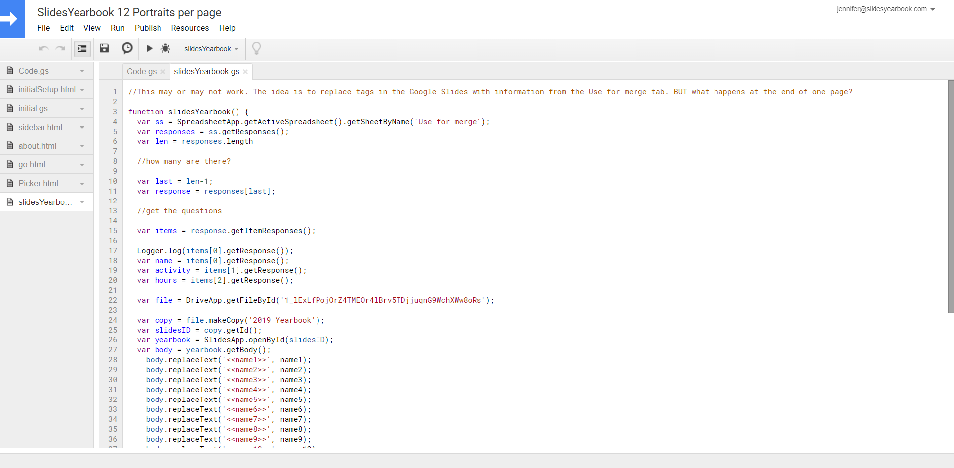 slidesyearbook mail merge prototype