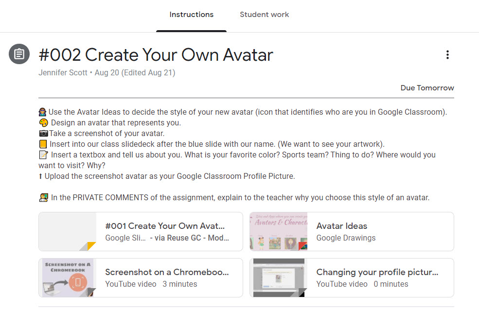 Create an avatar lesson