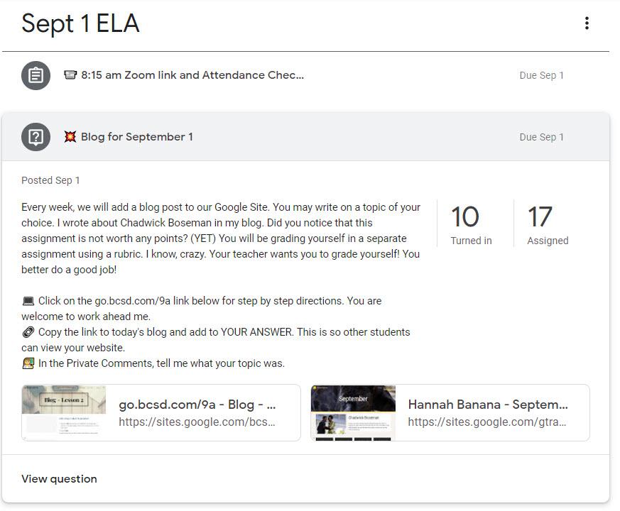 Blog for September 1