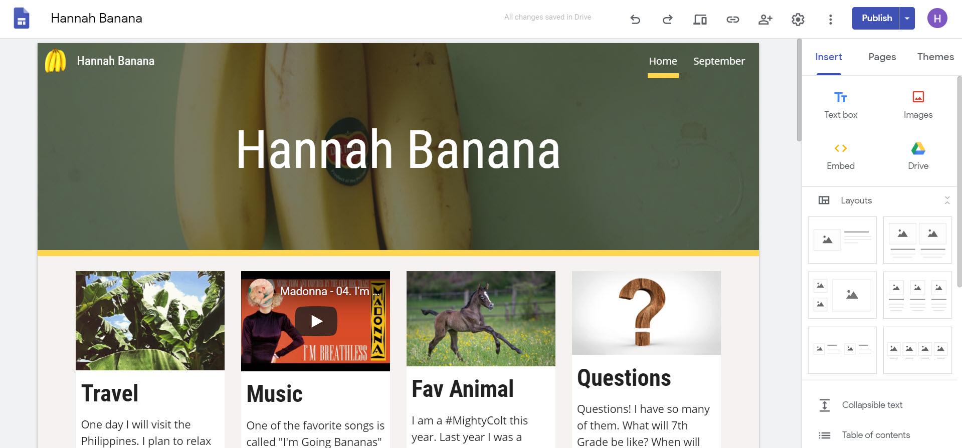 Example Google Site Blog