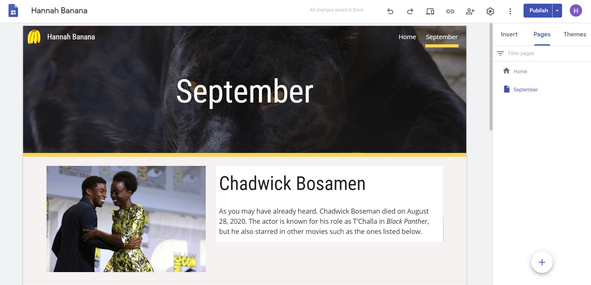Google Site Blog September