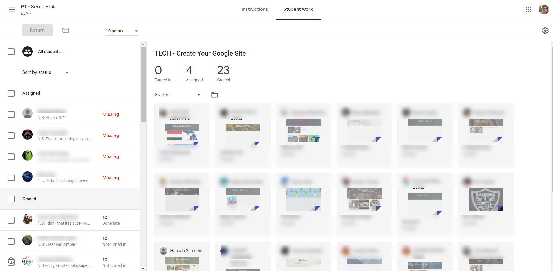 Add the Google Site to the Lesson 1 assignment, but the teacher MUST return it.