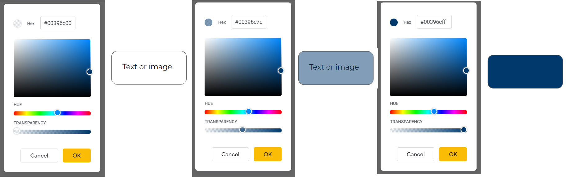 00 to 7c to ff transparency color scale