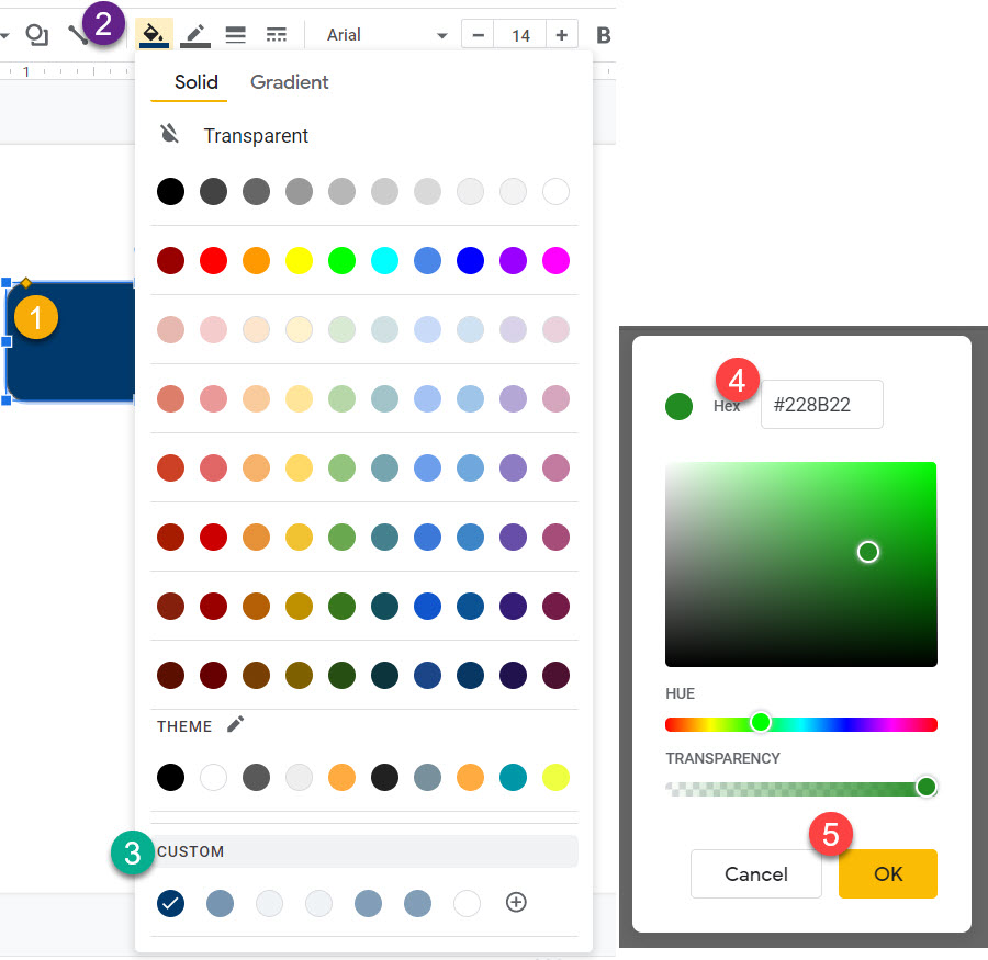 How change the custom color