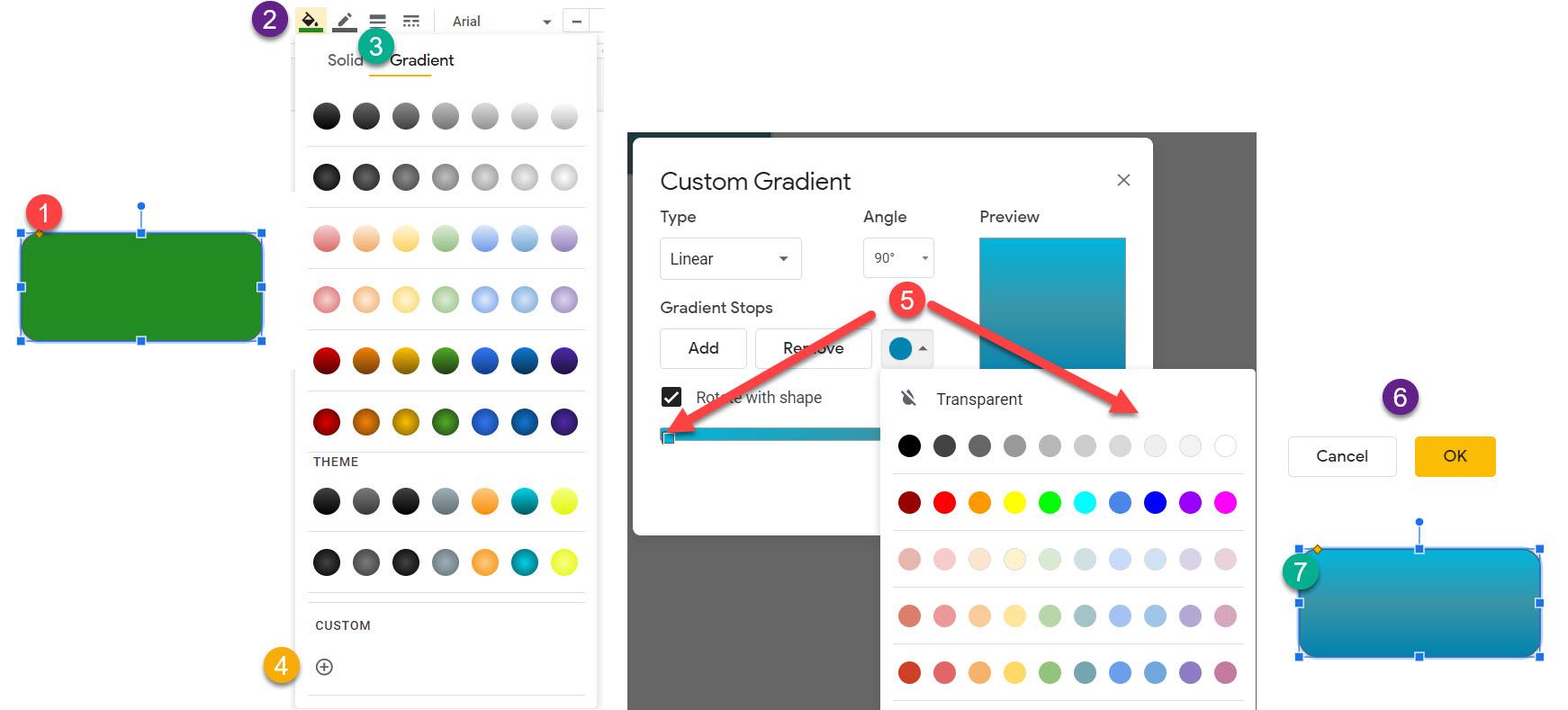 How to use custom gradient