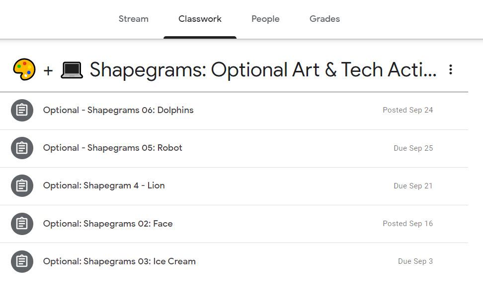Shapegrams Google Classroom Assignment